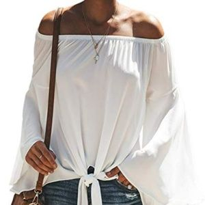 Womens bell sleeve off the shoulder